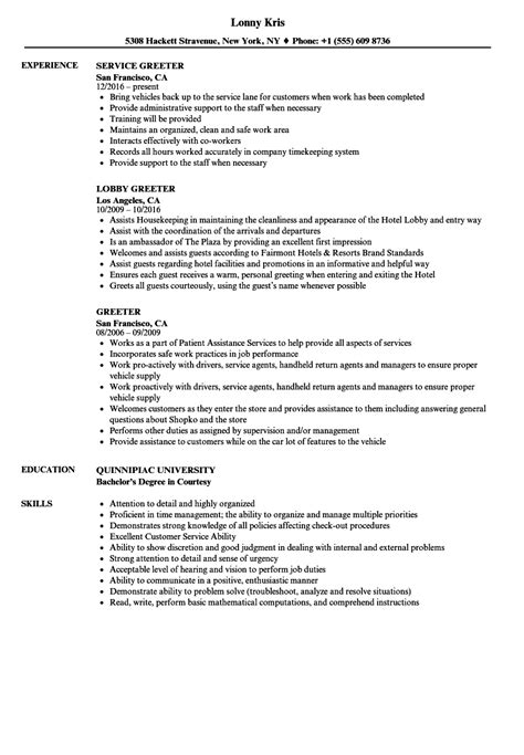 Resumés by Door Greeter Duties Greeter Resume S Le As