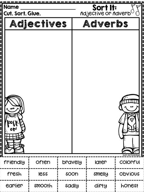 adjective and adverb sorting freebie from more than math