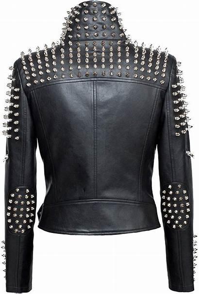 Jacket Leather Studded Punk Cropped Womens Jackets