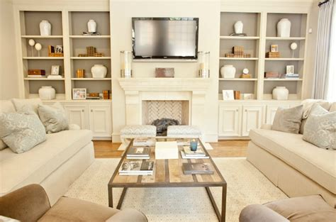 built in cabinets transitional living room munger