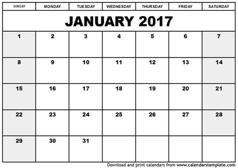 Free Calendar Template 2017 January 2017 Calendar Template