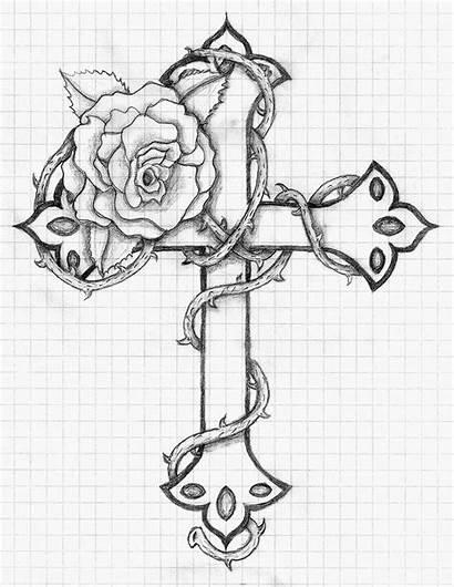 Cross Deviantart Tattoo Rose Drawings Fiasco Balloon