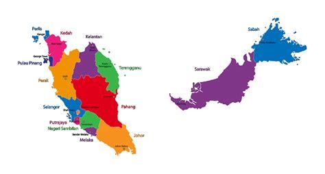 large states map  malaysia malaysia asia mapsland