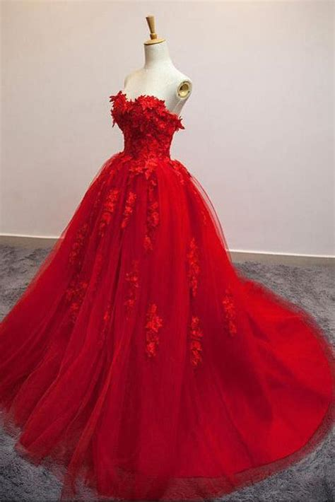 sexy red sweetheart strapless ball gown applique tulle