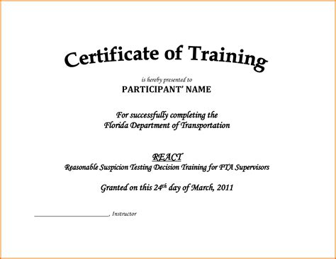 Traininb Certificate Template by Certificate Of Training Templatereference Letters Words