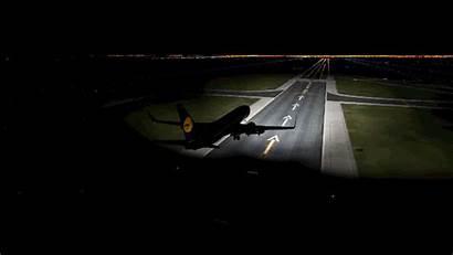 Night Lights Plane Airplane Landings Landing Redd