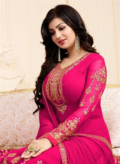 buy ayesha takia rani pink georgette straight suit