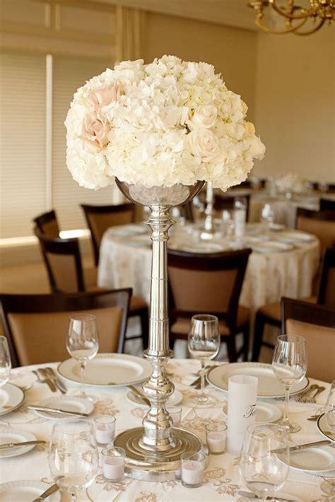 hydrangeasrose tall centerpiece weddingbee photo gallery