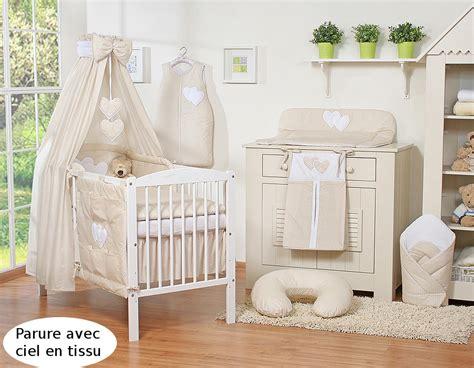 tissu pour chambre bébé tour de lit bébé 120 60 ou 140 70 beige à pois à coeurs