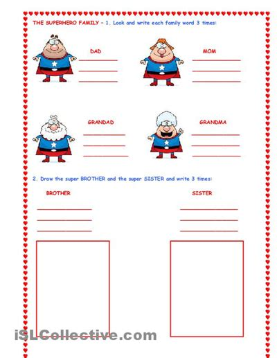 super hero family  images family worksheet