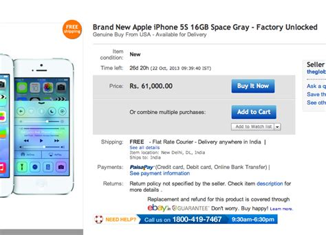 selling iphone 5s ebay is selling iphone 5s for rs 61000 cheapest in india