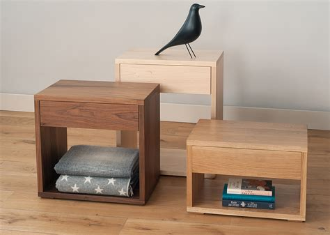 cube modern bedside drawer table natural bed company