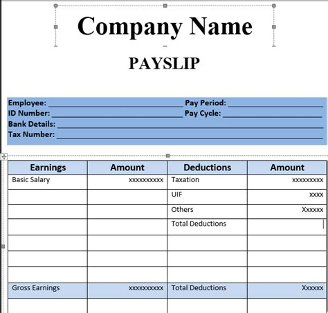 payslip template format  excel  word excel project