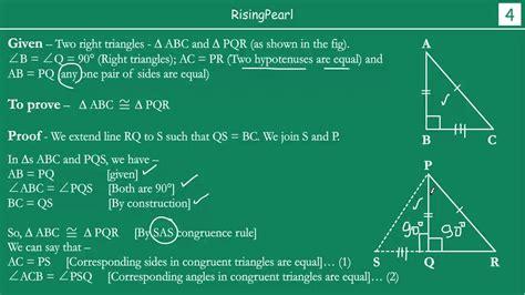 rhs  angle hypotenuse side congruence rule youtube