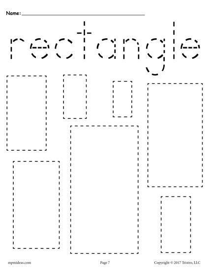 preschool rectangle activities 12 shapes tracing worksheets shapes worksheets coloring 675