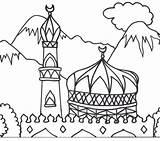 Masjid Coloring Pages Getdrawings sketch template