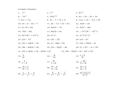 adding and subtracting complex numbers worksheet adding subtracting multiplying complex numbers worksheet