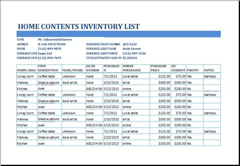 home contents inventory list template  xltemplatesorg