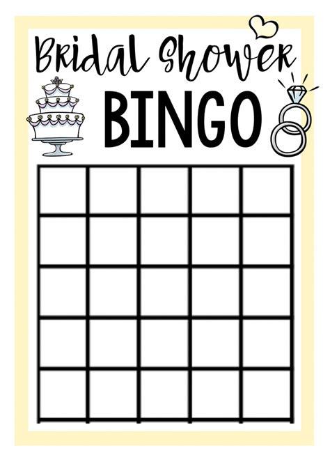 bridal shower bingo template free printable bridal shower squared