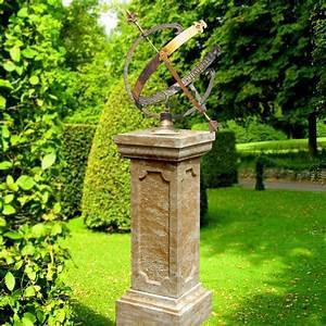 garten sonnenuhr sandstein saule skaphe o gartentraumde With französischer balkon mit garten sonnenuhr