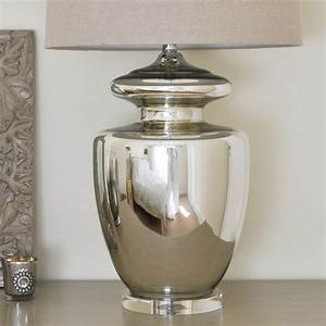 Large silver urn table lamp and linen shade by primrose for Table lamp hs code