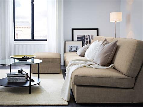 ikea room kivik three seat sofa combination and footstool with isunda beige cover and vittsj 214 black brown