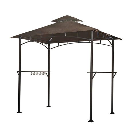 sunjoy gazebo sunjoy hacienda 5 ft x 8 ft brown steel grill soft top gazebo 110103001 the home depot