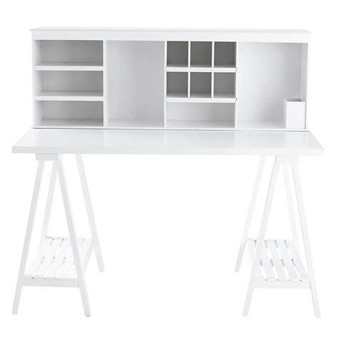 bureau bois blanc bureau en bois blanc l 130 cm cus maisons du monde