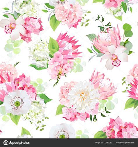 witte protea bloemen lente gemengd boeket van roze hortensia protea witte