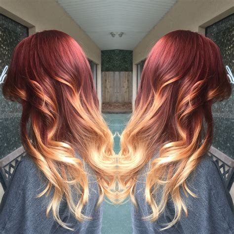 Red Fiery Ombre Hair Dye Blonde Ends Red Ombre Redombre