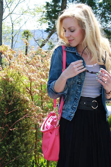 stripes pleats denim jacket black midi skirt leopard heels meagans moda