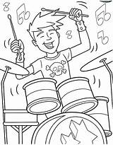 Coloring Pages Band Drum Rock Roll Boy Drummer Printable Drumset Drawing Drums Play Showtime Playing Hiking Getcolorings Marching Getdrawings Popular sketch template