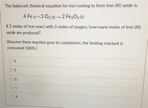 equation rusting chemical iron solved balanced