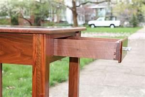 Handmade, Walnut, End, Table, By, Drop, Tine, Design