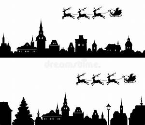Santa sleigh silhouette stock vector. Image of clipart ...