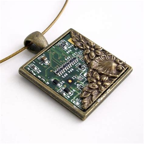 Circuit Board Necklace With Bronze Industrial Techno