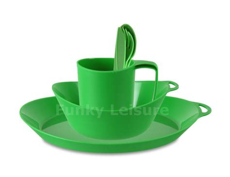 Lifeventure Ellipse Camping Tableware Set   Green