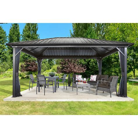 sojag genova ft ft metal permanent gazebo reviews wayfair