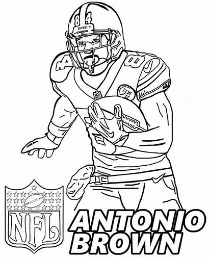 Coloring Football Pages Player Antonio Brown American