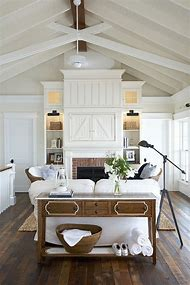 Farmhouse Cottage Living Rooms in White