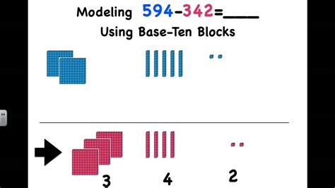 subtracting  digit numbers  base ten blocks youtube