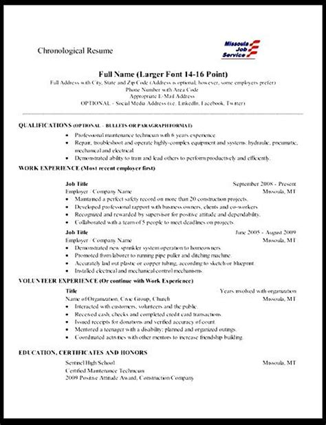 Chronological Resume Format Sle by Chronological Resume Sle Free Sles Exles Format Resume Curruculum Vitae