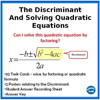 Solving Quadratic Equations And Finding The Discriminant By Math M8