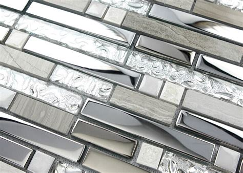 silver stainless steel  glass tile textured marble