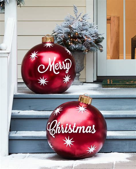 merry christmas outdoor decorations outdoor merry ornaments balsam hill