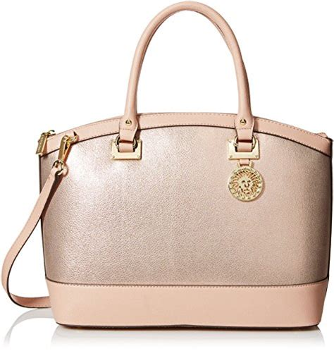 anne klein time  indulge dome satchel bag blush pink
