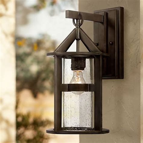 argentine 17 quot high glass and bronze outdoor wall light