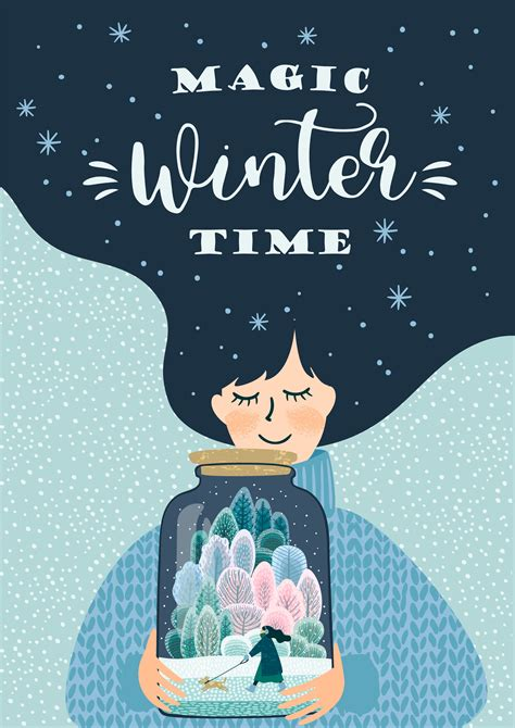 Winter illustration with cute woman. Vector design ...