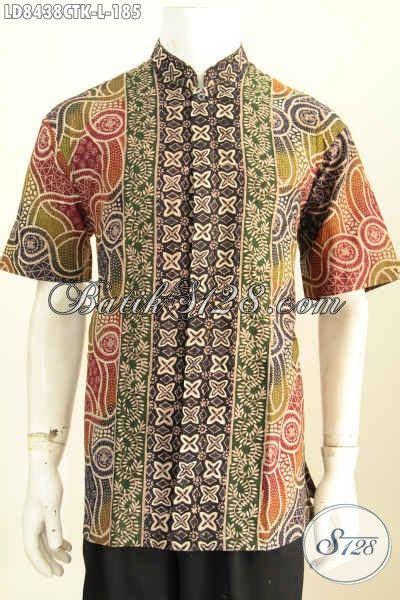 baju batik pria halus kerah shanghai kemeja koko lengan pendek motif bagus proses cap