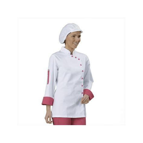 blouse de cuisine femme veste cuisine femme blanc et fuchsia manches longues